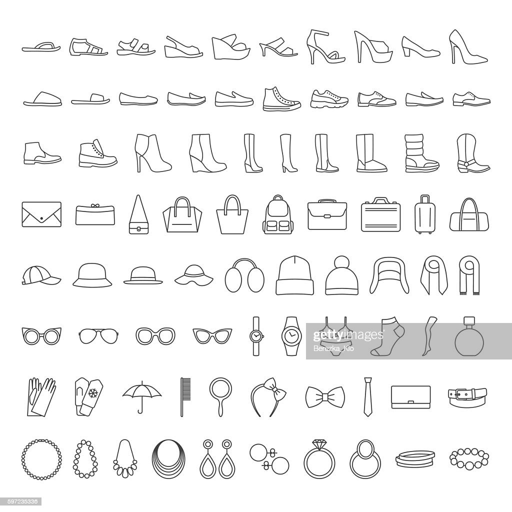 Shoes and accessories line icons