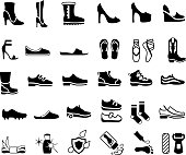 Shoes, Footwear and Foot Care Icons