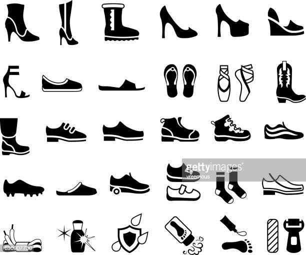 shoes, footwear and foot care icons - hiking boot stock illustrations