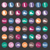 Shoes icon set, male and female shoes. Vector illustration