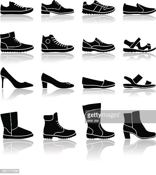 stockillustraties, clipart, cartoons en iconen met shoes icons - illustration - schoen