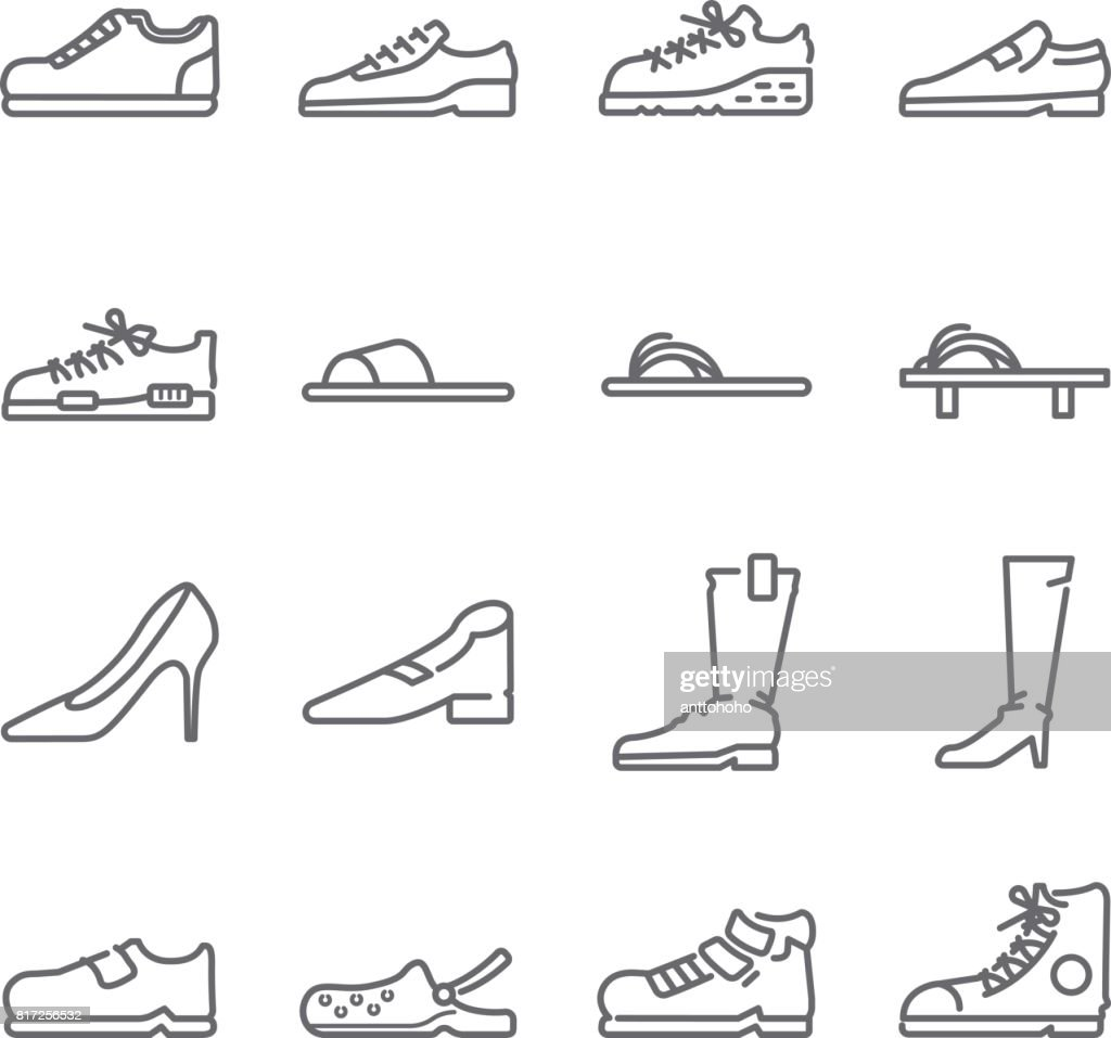 Shoes line icon set. Included the icons as sandal, shoes, boots, sneaker, slipper and more.