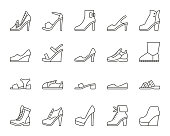 Shoes simple black line icons vector set