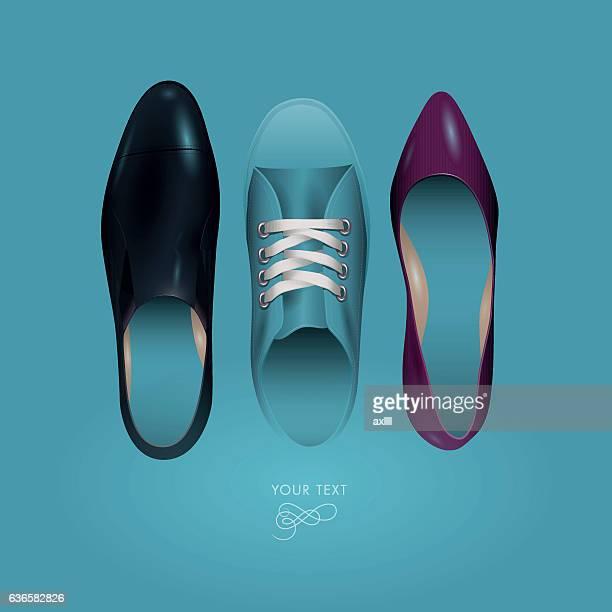 shoes top view blue
