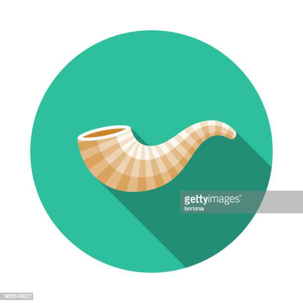 Icono de Hanukkah de diseño plano de shofar