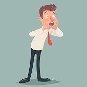 Shoked Vintage Businessman Character Icon Man Surprise Expression Retro Cartoon