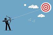 Shooting arrow on a target