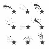 Shooting, falling stars icons. Icons of meteorites and comets. Falling stars with different tails