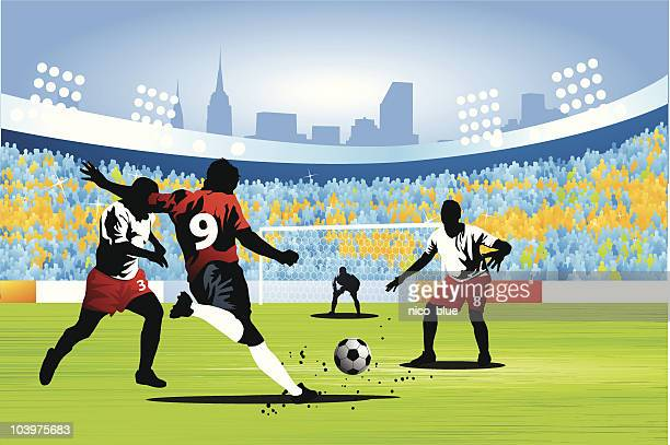shooting for a soccer goal - sports team stock illustrations, clip art, cartoons, & icons