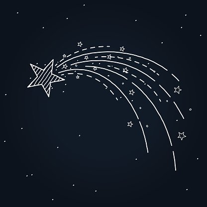 shooting star hand drawn - gettyimageskorea