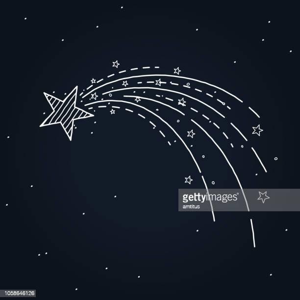 shooting star hand drawn - glamour stock illustrations