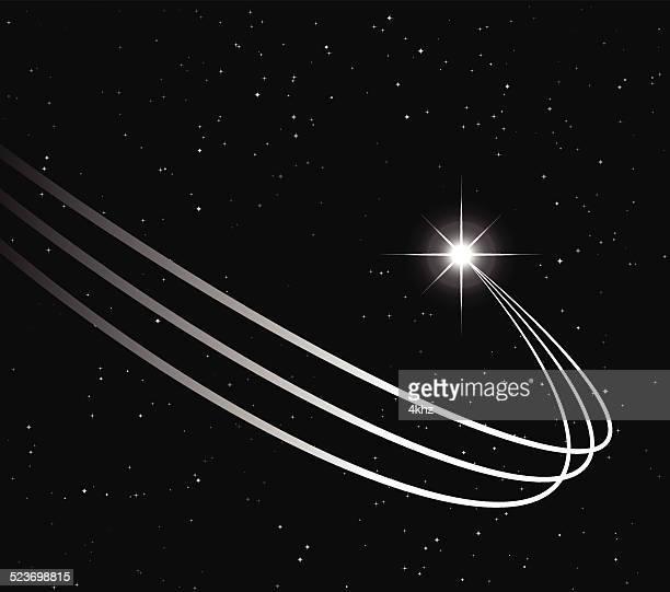 ilustraciones, imágenes clip art, dibujos animados e iconos de stock de tiro rastro de estrella vector fondo de stock - cometa espacio