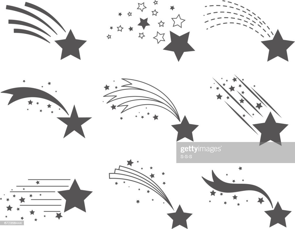Shooting Stars With Tails Icons Vector Art Getty Images