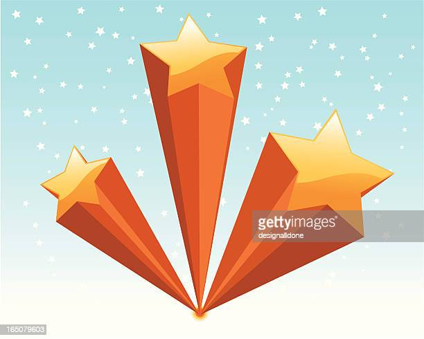 ilustraciones, imágenes clip art, dibujos animados e iconos de stock de tiro super-stars - estrella fugaz
