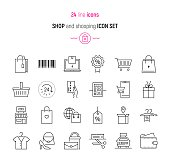 Shop and shopping icon set
