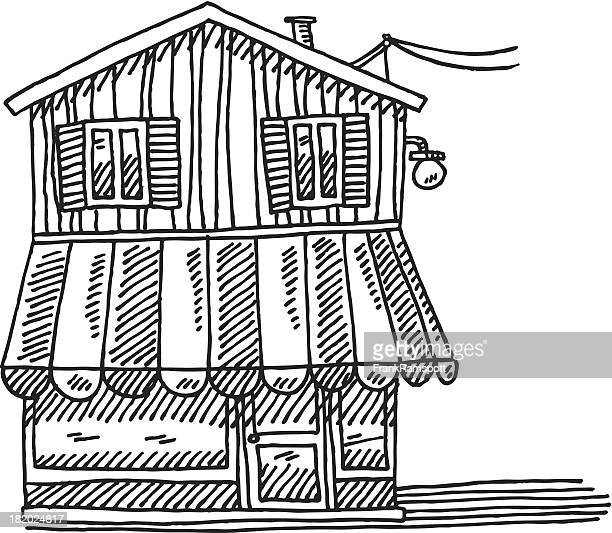 shop building front view drawing - awning stock illustrations, clip art, cartoons, & icons