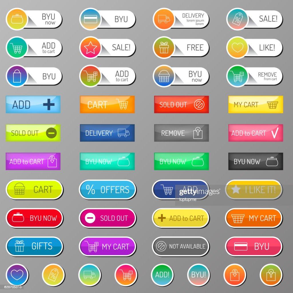Shop buttons ecommerce vector set.