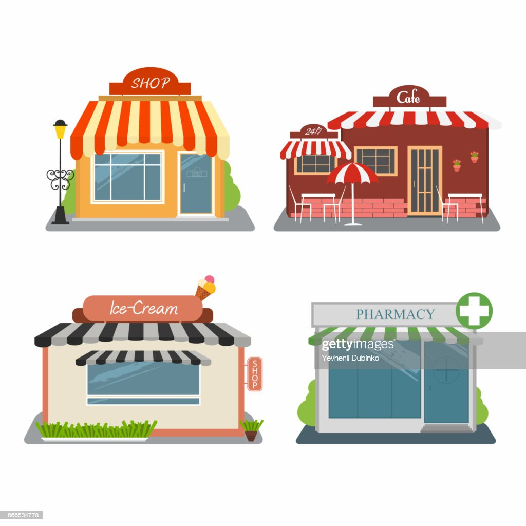 Shop, cafe, ice-cream store, pharmacy. Set of different colorful stores