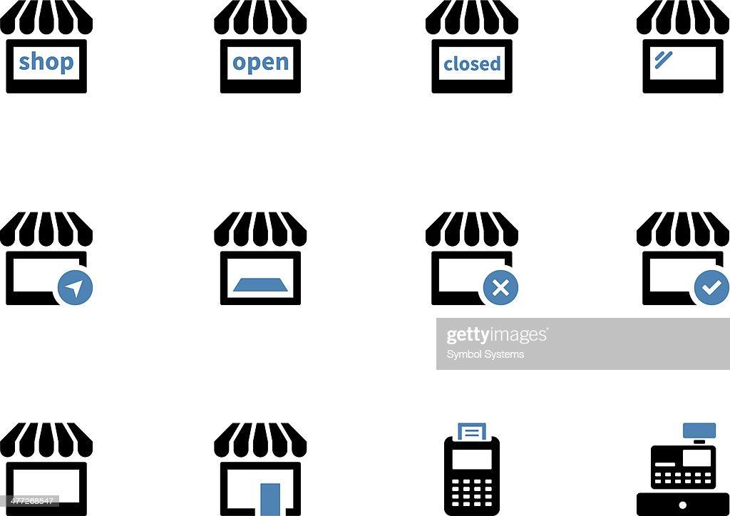 Shop duotone icons on white background.