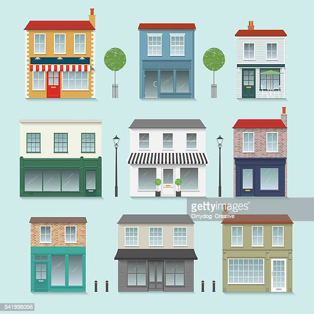 shop front set inc. trees, street lights and bollards - small business stock illustrations