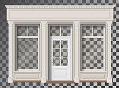 Shop front with column transparent window