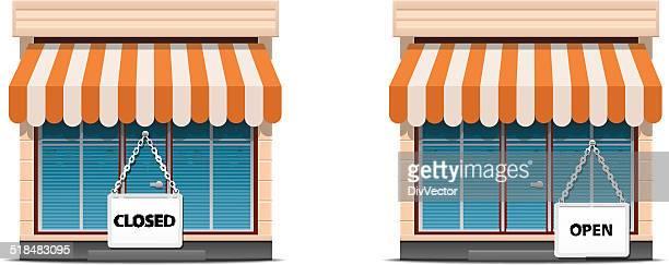 shop icon set - awning stock illustrations, clip art, cartoons, & icons
