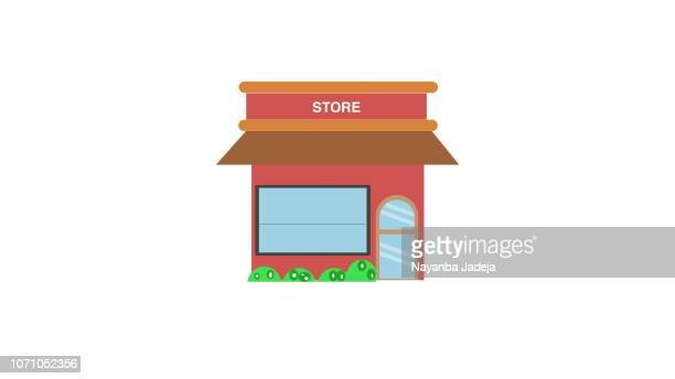 ilustraciones, imágenes clip art, dibujos animados e iconos de stock de tienda de icono, icono de estilo plano de almacenar - puesto de mercado