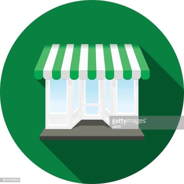 ilustraciones, imágenes clip art, dibujos animados e iconos de stock de icono de tienda - boutique