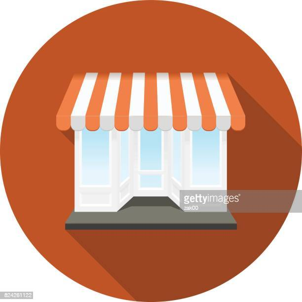 shop icon - awning stock illustrations, clip art, cartoons, & icons