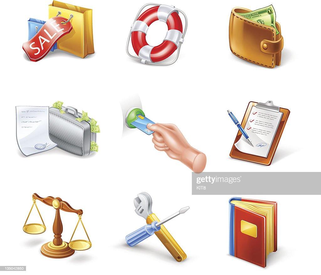 Shop icons: sale, help, bill, card, clipboard, compare, service, book.