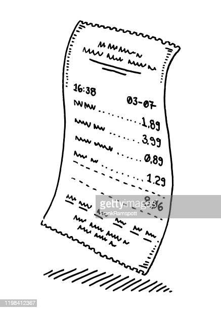shop payment paper receipt drawing - receipt stock illustrations