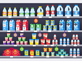 Shop shelf with milk products. Dairy grocery store shelves, milk bottle supermarket showcase and cheese product vector illustration