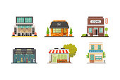 Shop store buildings vector illustrations set. Market exterior, restaurant and cafe. Vegetable store, pharmacy, boutique, urban front houses.