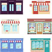 Shop, store front. Vector illustration. Storefront facades set.