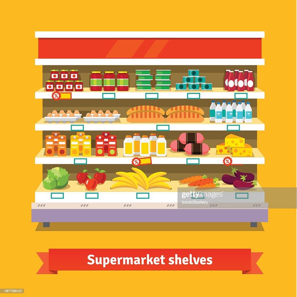 Shop, supermarket interior. Healthy food
