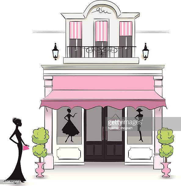 boutique - awning stock illustrations, clip art, cartoons, & icons