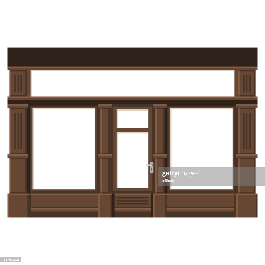 Shopfront with White Blank Windows. Wood Store Facade. Vector.