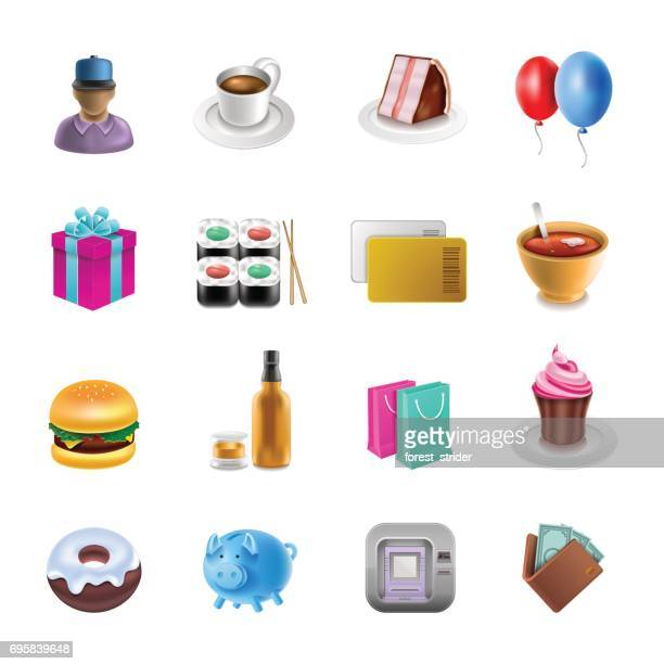 shoping icons - emoticon stock illustrations
