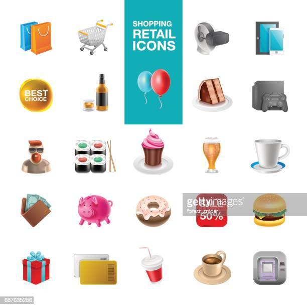 shoping retail icons - emoticon stock illustrations