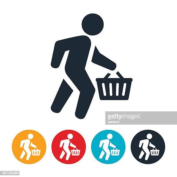 Shopper Carrying Shopping Basket Icon