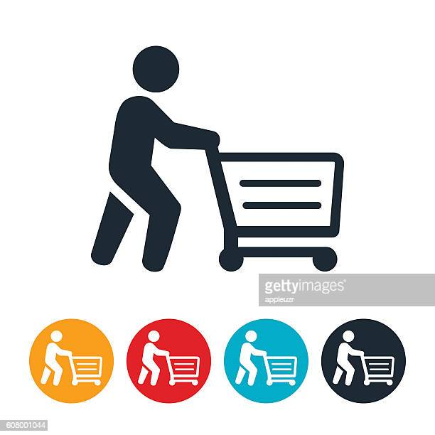 shopper pushing shopping cart icon - shopping cart stock illustrations
