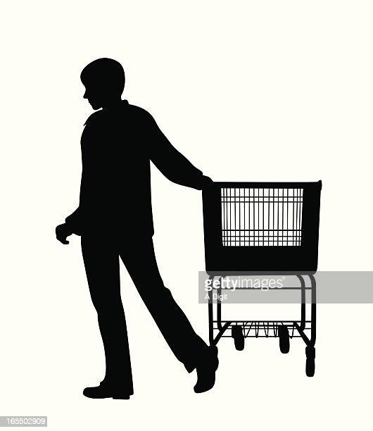 shopper vector silhouette - androgynous stock illustrations, clip art, cartoons, & icons