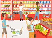 Shoppers in supermarket. Background illustrations of peoples near shelves of store