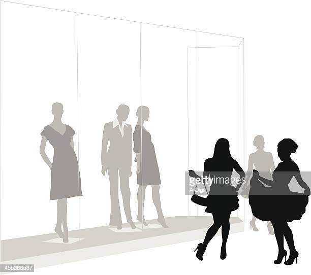 shoppin' bliss vector silhouette - mannequin stock illustrations, clip art, cartoons, & icons