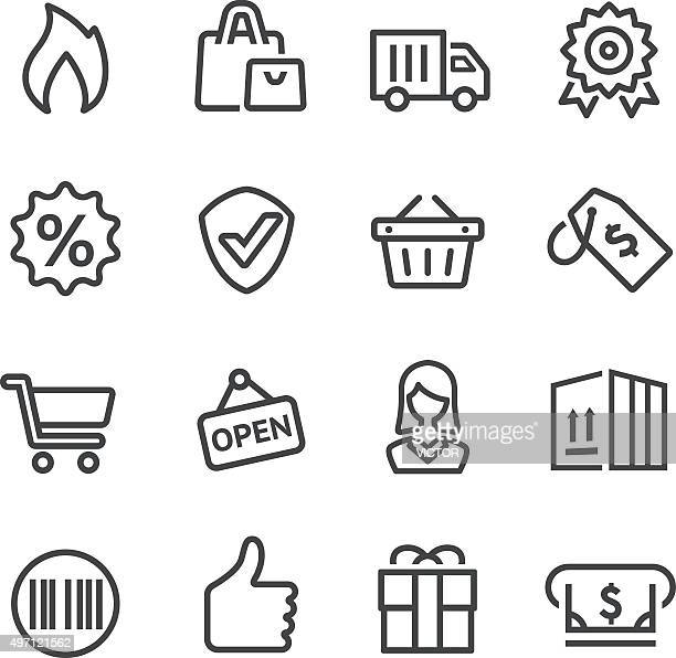 shopping and buying icon - line series - shopping basket stock illustrations