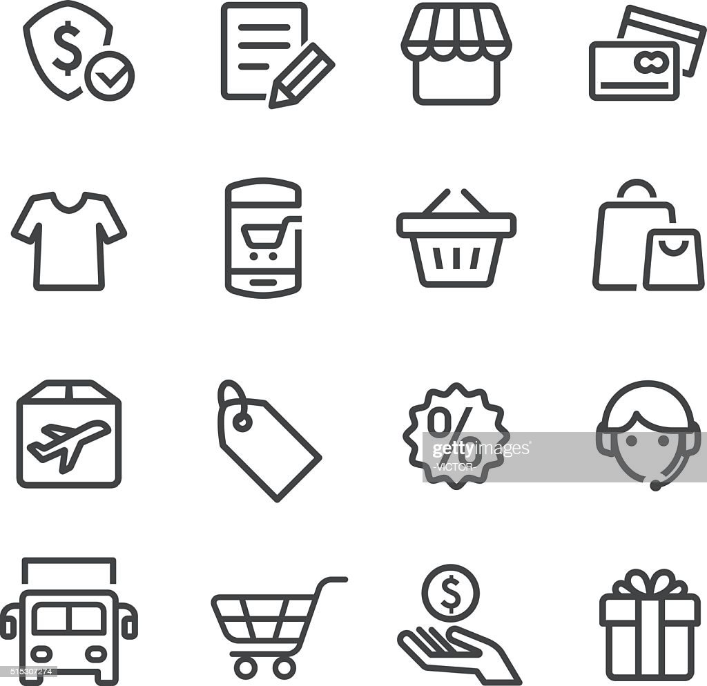 Shopping and Buying Icon Set - Line Series : stock illustration
