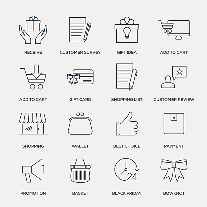 Shopping and Buying Icon Set - Line Series - gettyimageskorea