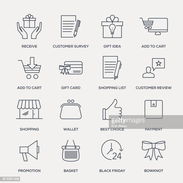 shopping and buying icon set - line series - receiving stock illustrations