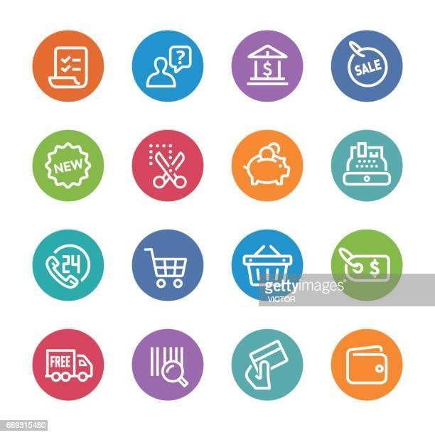 shopping and buying icons set - circle line series - shopping list stock illustrations, clip art, cartoons, & icons