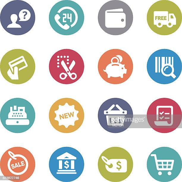 shopping and buying icons set - circle series - cash flow stock illustrations, clip art, cartoons, & icons
